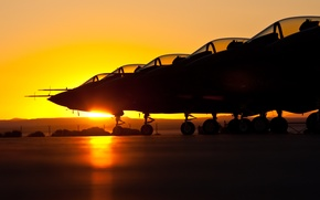 Обои солнце, аэродром, самолёты