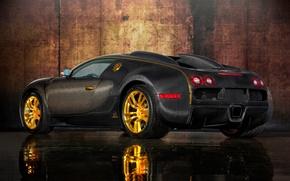 Картинка авто, дизайн, отражение, золото, карбон, спорткар, кузов, Mansory, Bugatti Veyron 16.4 LINEA Vincero d'Oro, Бугатти ...