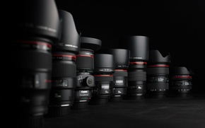 Картинка чёрный, canon, обьективы, Фотоаппараты