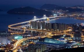 Картинка город, ночной, корея, пусан
