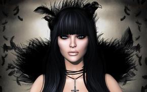 Картинка брюнетка, перья, ворон, девушка, мистика, лицо