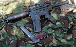 Картинка пистолет, камуфляж, карабин, 1911, Colt, автоматический