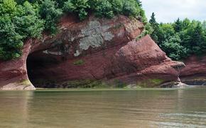Картинка море, лес, деревья, берег, пещера, caves, St. Martins Sea