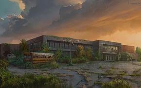 Картинка здание, растение, арт, автобус, The Last of Us