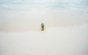 Картинка песок, пляж, вода, ананас