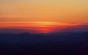 Картинка небо, солнце, закат, долина, Бразилия, Lena Lopes рhotography, Минас-Жерайс, огненый