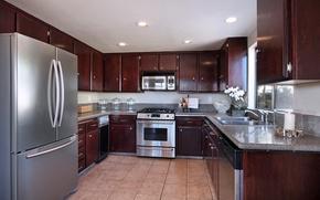 Картинка дизайн, фото, интерьер, холодильник, кухня