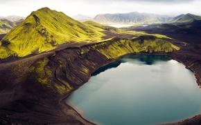 Картинка небо, трава, горы, озеро, Исландия