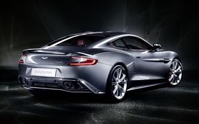 Картинка серый, фон, Aston Martin, суперкар, полумрак, вид сзади, Астон Мартин, Ванкуиш, Vanquish
