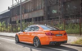 Картинка car, авто, BMW, седан, tuning, orange, задок, выхлопы, 3D Design