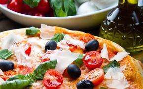 Картинка сыр, пицца, помидоры, оливки, черри