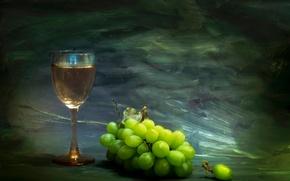 Картинка краски, бокал, виноград, мазки, Beyond the horizon