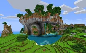 Картинка горы, дерево, водопад, minecraft