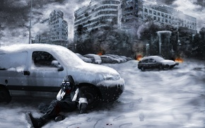 Картинка снег, машины, город, огонь, дым, руины, Романтика апокалипсиса, Romantically apocalyptic, Snippy