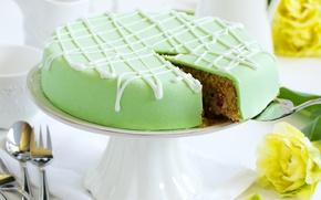 Обои baked, глазурь, десерт, dessert, выпечка, cake, зеленый, торт, цветы