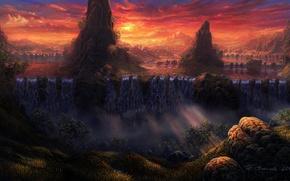 Картинка облака, деревья, пейзаж, закат, тучи, камни, обрыв, скалы, гора, арт, водопады, солнечные лучи, Fel-X