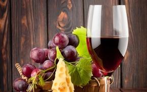 Обои листики, сыр, виноград, бокал, вино, красное