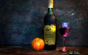 Картинка вино, бокал, бутылка, яблоко, штопор, Drink your worries away