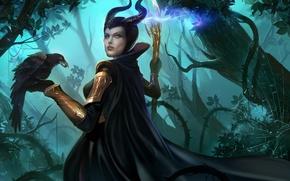 Картинка лес, девушка, паутина, арт, посох, ворон, marvel, loki, maleficent