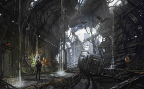 Обои вода, оружие, метро, человек, вагоны, арт, разруха, руины, подземка, провалы, Jonathan Powell