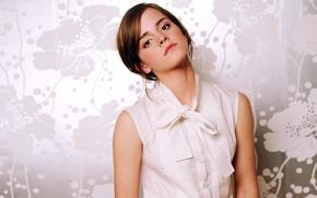 Картинка белый, взгляд, светлый, актриса, шатенка, красивая, Эмма Уотсон, Emma Watson, фотосессия, фотомодель