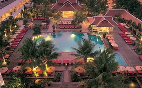 Картинка пальмы, бассейн, отель, ареал