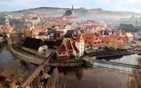 Обои cathedral, river, bridge, morning, people, fog, dawn, cityscape, mist, church, Czech Republic, Český Krumlov, South ...
