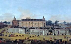 Картинка пейзаж, люди, картина, карета, Francesco Battaglioli, Вид на Дворец Аранхуэс