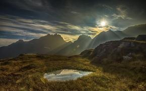 Картинка солнце, свет, горы, рассвет, утро