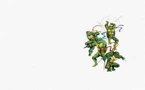 Картинка минимализм, Черепашки-ниндзя, Raphael, Leonardo, Donatello, Teenage Mutant Ninja Turtles, Michelangelo, мутанты ниндзя черепашки