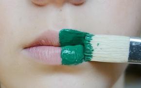 Картинка девушка, краска, кисть