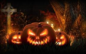 Обои ночь, хэллоуин, праздник, тыква, рендеринг, крест