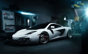 Картинка McLaren, Front, MP4-12C, White, Wheels, Garage, ADV.1, Ligth