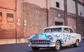 Картинка Chevrolet, 150, flame, 1954, blue