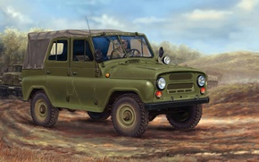 Картинка машина, арт, внедорожник, автомобиль, колонна, армейский, советский, УАЗ-469