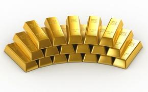 Картинка Пирамида, Фон, Металл, Золото, Слиток