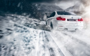 Картинка BMW, Car, Speed, Snow, White, Sport, Road, Rear