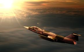 Обои sunset, jet, interceptor, starfighter, f104