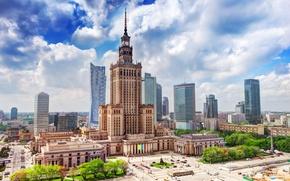 Картинка площадь, Польша, Варшава, дворец науки