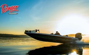 Картинка небо, вода, берег, мотор, boat, Ranger