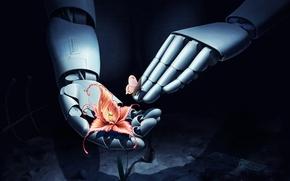 Картинка цветок, бабочка, робот, руки, арт