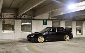 Картинка Subaru, Impreza, черная, black, STI, субару, импреза