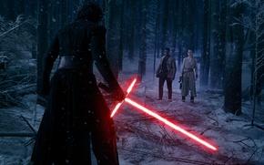 Обои Rey, Finn, Kylo Ren, Star Wars: The Force Awakens, меч, ночь, лес, Дэйзи Ридли, снег, ...