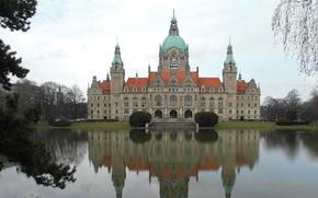 Обои новая ратуша, отражение, Ганновер, Германия, пруд, пейзаж