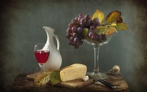 Картинка вино, сыр, виноград, натюрморт