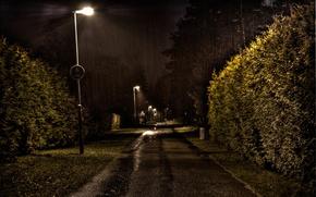 Обои Улица, фонарь, дождь