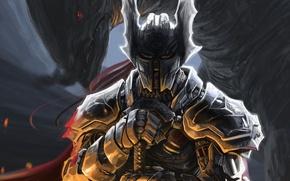Картинка оружие, монстр, меч, воин, арт, шлем, доспех, рукоядка, Peter Balogh
