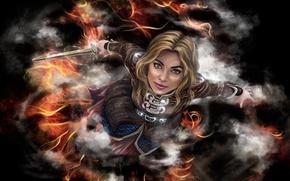 Картинка взгляд, оружие, меч, пиратка, фантастика. арт. девушка