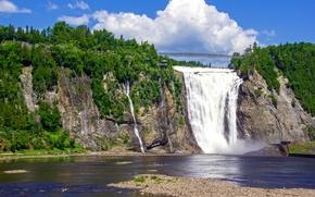 Картинка небо, деревья, мост, водопад, поток