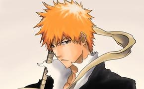 Картинка взгляд, парень, Bleach, Блич, недовольство, kurosaki ichigo, art, рукоять меча, синигами, Tridyrium